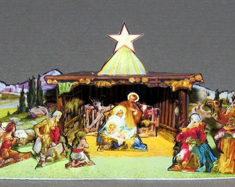 Christmas crib and storage box, DIY kit from paper in miniature for the Doll House, Doll House, dollhouse miniatures # 40073