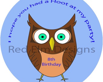 "Owl Party Stickers - Sheet of 20 - 2"" round.  Owl Birthday Party Favors.  2 Inch Round Owl Birthday Party Stickers"