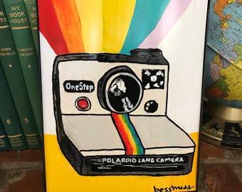 Rainbow Polaroid Camera   Vintage Camera Print   vintage inspired art   indie art   8x10 print   retro inspired art   retro rewind