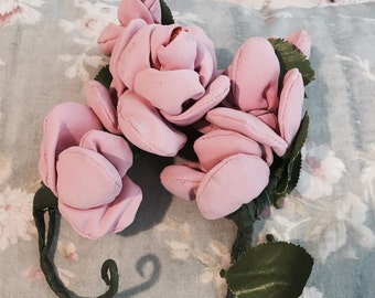 Vintage pink ribbonwork millinery rose corsage bouquet leaves shabby french nordic chic flower floral crown garland