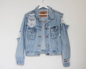 Denim Jacket Ripped Jeans Levi's Wrangler Oversized Light Blue Jeans Destroyed Vintage Retro Grunge Unisex MADE TO ORDER