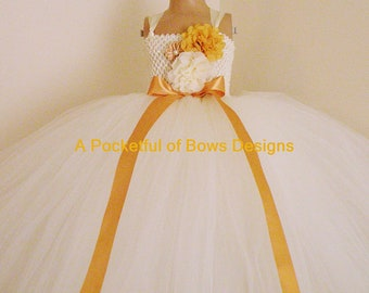 Ivory Gold Flower Girl Tutu Dress, Ivory and Gold Ball Gown