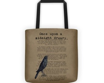 Literary Tote // The Raven  // Midnight Dreary // Edgar Allan Poe Quote // Gift for Writer // Book Lover Gift // Teacher Tote Bag // Brown