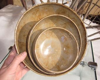 Set of 3 Purple/Ochre Nesting Bowls