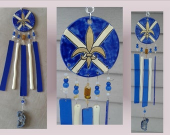 Gold Fleur de Lys Glass Wind Chime Blue Ceramic Windchime Pottery Sun Catcher Mobile Fleur de Lis French Decor