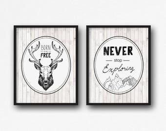 Never Stop Exploring, Born to Be Free, Tribal Wall Decor, Tribal Kids Bedroom Nursery Wall Art, Tribal Art Prints, Deer Antlers Art, A-2040