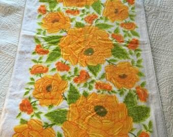 60s Orange floral cotton Bath Towel