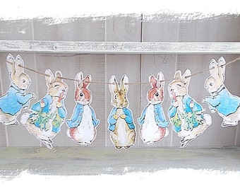 Peter Rabbit Banner..Baby Shower..Birthdays..Child's Room Decor