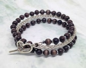 Amythest wood beads with silver viking knit ladies wrap bracelet
