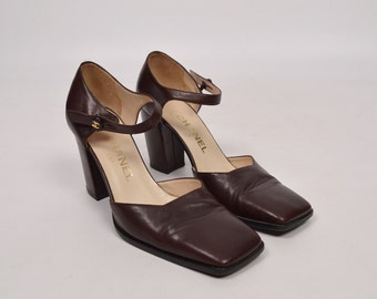 Vintage Chanel Square Toe Mary Jane Shoes Size 37.5 (7)