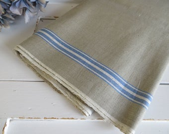 Manglecloth Linen  Mangle Cloth  Tablecloth    Fabric  Pillow  Curtain Upholstery Roman Blind Roman Shades Runner Blue White Stripes Unused