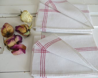 2  Two Antique Handwoven Linen Towels Red  Stripes Runner Napkin Wrap Bath Cloth Torchon Laundry Guest Germany Farmland Pair Unused