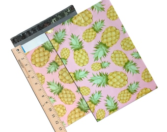 """50Pack 10 x 13"""" Beautiful Pink Pineapple FLAT POLY Mailers -Hawaiian Dream Self Adhesive Poly Mailing Bags, 10x13"""" Business Mailing Bags"""