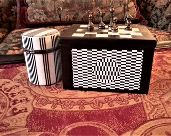 Wooden Op Art Box with Porcelain Canister