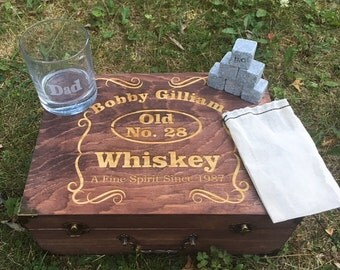 Cool Groomsmen Gift, 6 Engraved Large Whiskey Rocks, Whiskey Glass, Best Man Gift, Thank You Present, Rustic Whiskey Box, Gift for Him, Dad