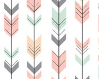 Curtains or Valance in Arrow (mint, pink, peach and gray)