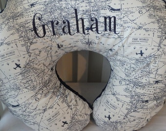 Vintage Maps Boppy Cover (2 color options) with Personalization option