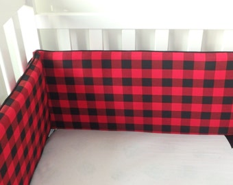 Red and Black Buffalo Plaid Bumper Pads