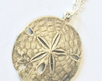 Large Sterling silver sand dollar necklace - silver sand dollar jewelry - beach lover gift - sand dollar pendant