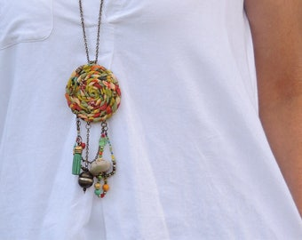 Fabric Necklace, Fringe Necklace, Dream Catcher Necklace, Charm Jewelry, Chain Necklace, Boho Necklace, Gypsy Jewelry, Hippie Necklace, OOAK