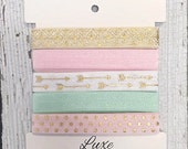 "Fold Over Elastic Multi Pack DIY Baby Headbands Light Pink, Mint, White, Ivory -Girly Neutrals 5/8"" Wide FOE 5 Yard Multi Pack: 1 yard each"