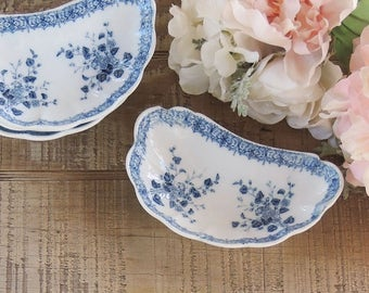 Blue and White Bone Dish Crescent Plate Listing is for 1 Dish W H Grindley Floral Pattern Antique English Transferware Ca. 1890