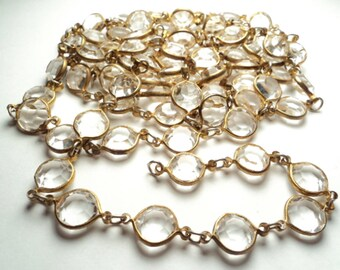 5  feet - Vintage acrylic crystal channel link chain - m271