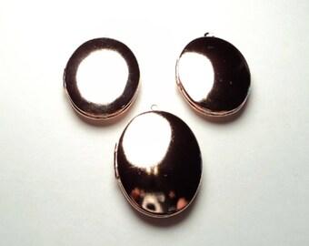 3 pcs. - Rose gold plated brass oval Lockets - m218rg
