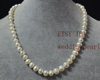 pearl shipping white freshwater nearround free necklace pearls strands double item real