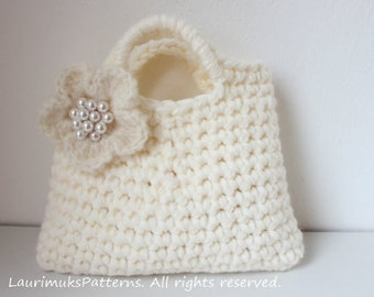 CROCHET PATTERN - Little Girl's Ivory Flower Purse - Listing68