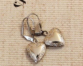 Xmas SALE Vintage Heart Locket Earrings in Silver Tone