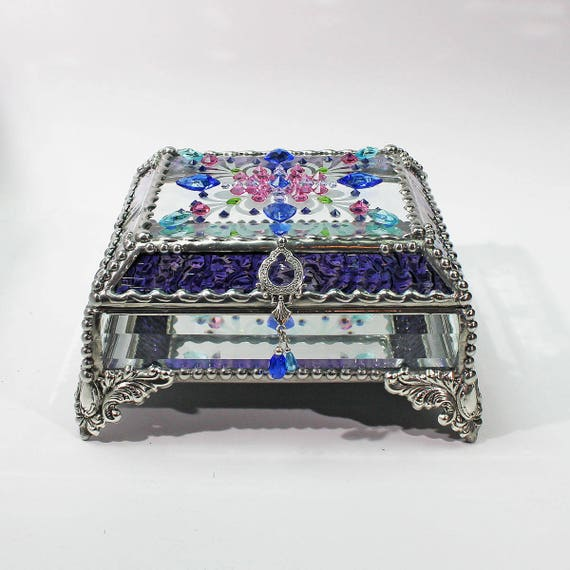 Jewel Encrusted 5x5, Jewelry Box, Treasure Box, Stained Glass Box, Trinket Box, Vintage Glass Jewels