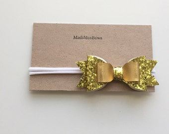 Gold glitter Bow on White Nylon Headbands- will fit any age and grow with your child- one size Valentine's Day headband heart felt