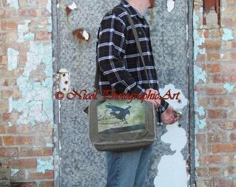 Crow Black Bird Flight Rustic Raven Khaki Canvas Laptop Bag Messenger Bag A674