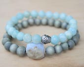 Amazonite and Blue Lace Agate Bracelet Stack- Throat Chakra Bracelet- Throat Chakra- Communication Stone- Gemstone Bracelets- Lotus Flower