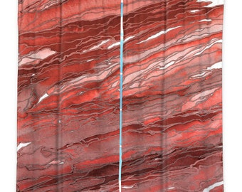 AGATE MAGIC, RUST Red Mauve Marble Art Window Curtains Geology Abstract Colorful Waves Home Decor Bedroom Kitchen Lined Unlined Woven Fabric
