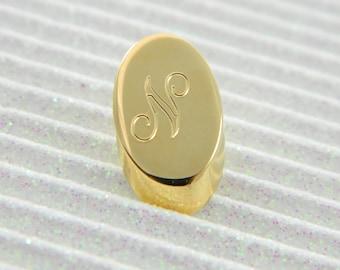 """Gold Monogram """"N"""" Lapel Pin - Personalized Initial """"N"""" Tie Tack"""
