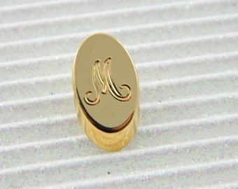 "Gold Monogram ""M"" Lapel Pin - Personalized Initial ""M"" Tie Tack"