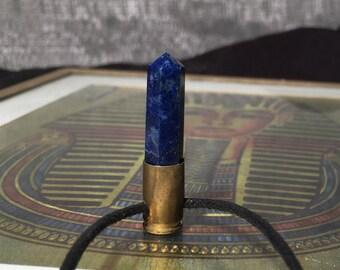 Lapis Lazuli Crystal Bullet Pendant No.45 - .380 Shell with Lapis Lazuli