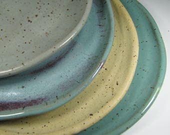 Dinner plates - dinnerware - dish sets - ceramic plates - rustic plates - pottery plates - plate sets - white plates - wedding