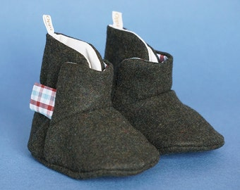 Oppi Baby Boots - Cosy maroon check boots