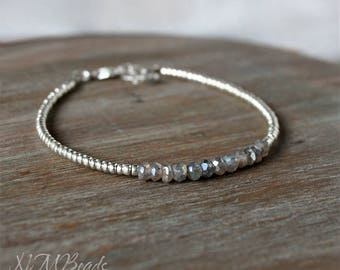Delicate Labradorite Beaded Bracelet With Silver Tone Seed Beads Thin Skinny Simple Jewelry Gray Gemstone Stacking Bracelet Gift For Her