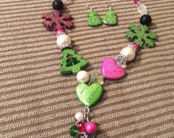 Christmas necklace with earrings