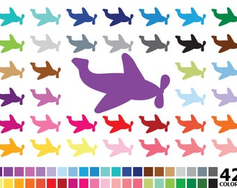 50% OFF SALE Rainbow Airplane Clipart - Digital Vector Airplane, Plane Clipart, Colorful Airplane Clip Art for Personal and Commercial