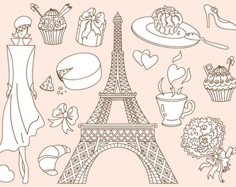 Doodle Paris Clipart - Digital Vector Love, Romantic, Cake, Eiffel Tower, Paris Clip Art
