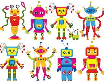 70% OFF SALE Robot Clipart - Digital Vector Robot, Robots, Gear, Boy Party, Colorful Robot Clip Art