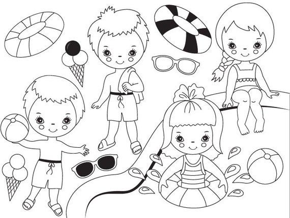Black White Pool Party Kids Clipart