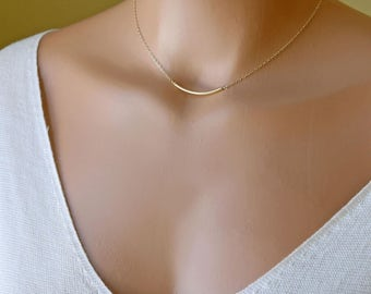 Gold Choker, Dainty Bar Necklace, Simple Everyday Choker Necklace, Minimal Layering Necklace, 14k Gold Fill, Sterling Silver, Rose Gold