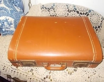 Vintage Luggage Rounded front Suitcase Camel Color, Vintage Suit Case ,Vintage Luggage,