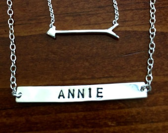 Name Bar Arrow Necklace Set- Two Necklaces -Sterling Silver- Hand Stamped- Custom Tag Necklace- Childs Name Necklace- Christmas Gift